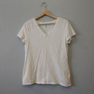 Tommy Hilfiger Large White V-Neck Sheer Shirt
